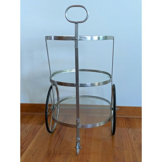 Modern Industrial Rolling Bar Cart, Attributed to Aldo Tura Preview