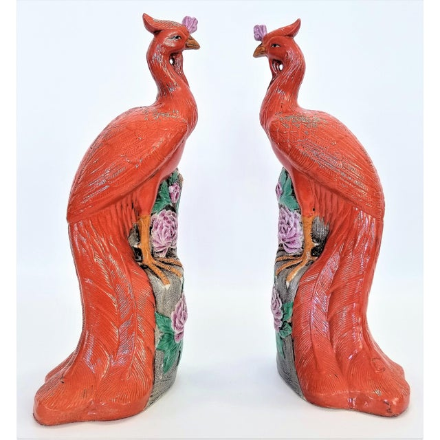 Abstract Rare Orange Large Famille Rose Phoenix Sculpture Figurines -Pair- Feng Shui - Chinese Chinoiserie Palm Beach Boho Chic Tropical Coastal Botanical For Sale - Image 3 of 13