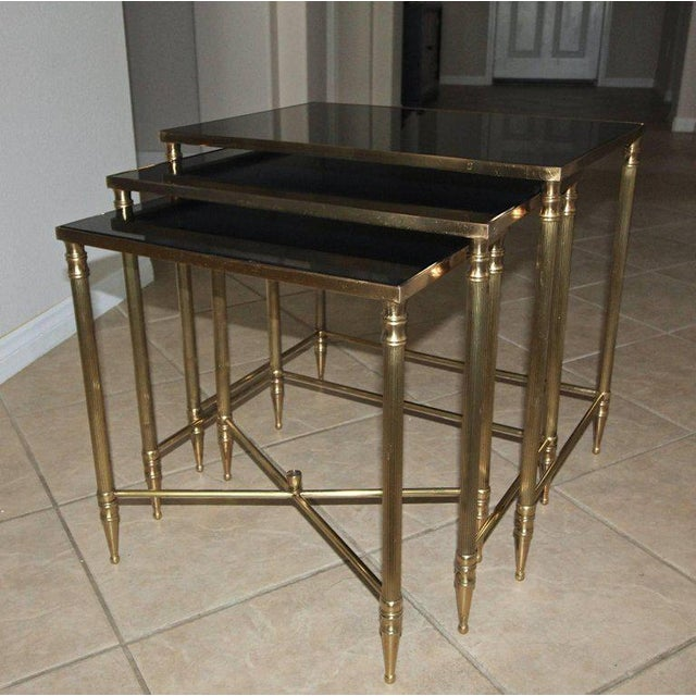 French Bagues Style Brass Nesting Tables - Set of 3 For Sale In Palm Springs - Image 6 of 13