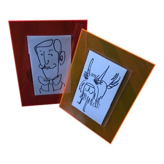 1980s Vintage Neon Photo Frames - A Pair For Sale