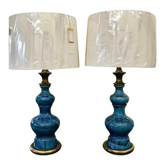 Vintage Stiffel Lamps >> Vintage Blue Glazed Stiffel Lamps A Pair