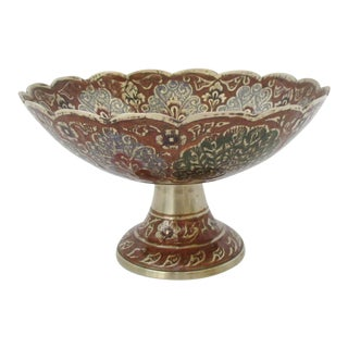 Indian Enameled Brass Coupe For Sale