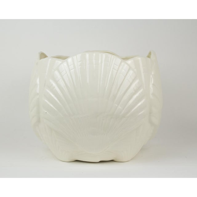 1980s Large White Ceramic Sea Shell Planter Cache Pot For Sale - Image 5 of 10