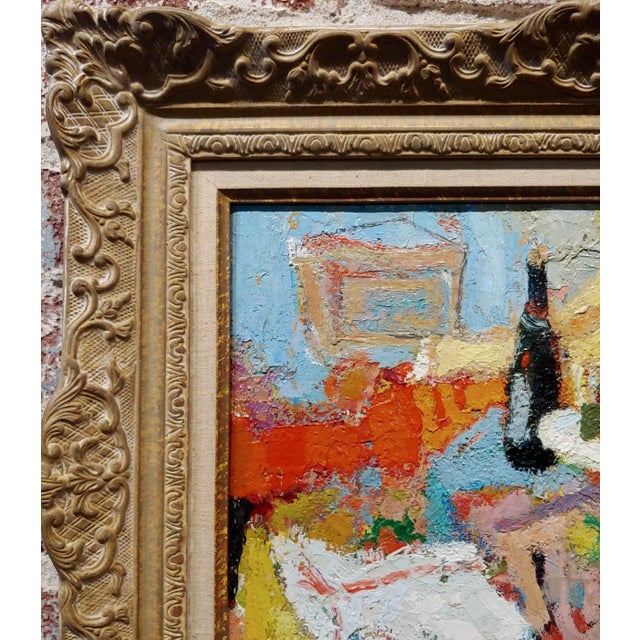1950s George Rene Sinicki -A Bottle of Wine on a Busy Table -1950s Oil Painting For Sale - Image 5 of 8