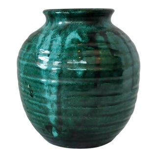 American Teal Pottery Vase For Sale