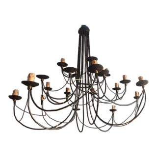 1940s English Industrial Iron Chandelier