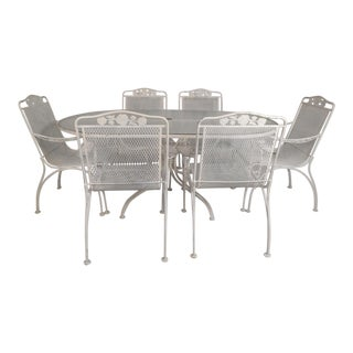Mid-Century Modern Wrought Iron Patio Dining Table Set- 7 Pieces For Sale