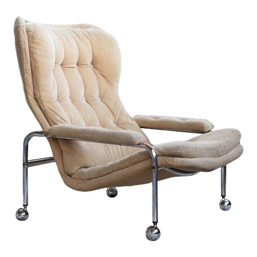 Rare Mid Century Vintage Swedish Lounge Chair by Scapa Rydaholm, 1970s For Sale