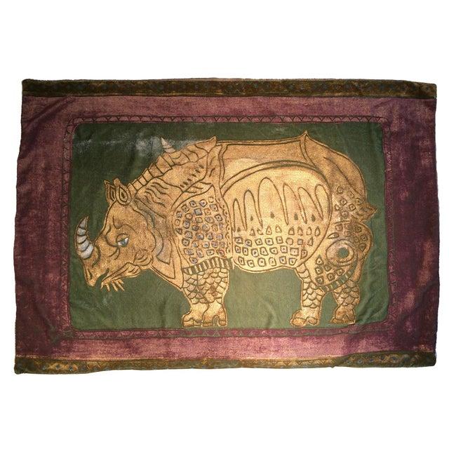 Mediterranean Rhinoceros Silk Velvet Pillow Cover For Sale - Image 3 of 3