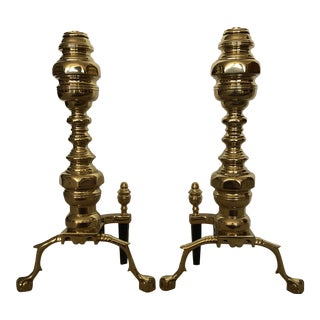 Chippendale Brass Andirons - a Pair For Sale