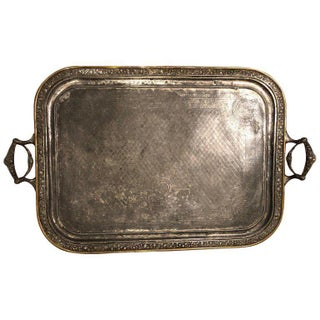 Large Victorian Metal Tray With Handles For Sale