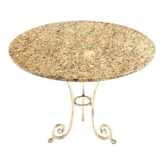 Contemporary Granite Top Heavy Iron Base Round Center Table For Sale