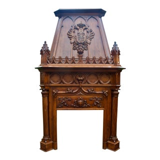 1880's Antique Carved Walnut Gothic Monumental Fireplace Mantle For Sale