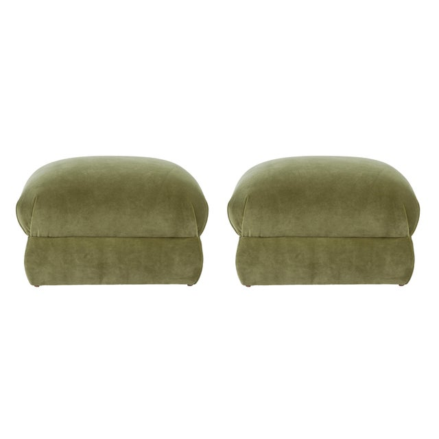Textile Casa Cosima Milan Ottoman in Olive Velvet, a Pair For Sale - Image 7 of 7