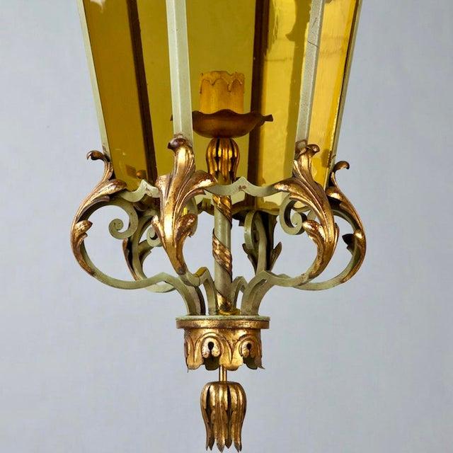 Italian Six Panel Gilt and Amber Glass Hall Lantern C.1920 For Sale - Image 5 of 5