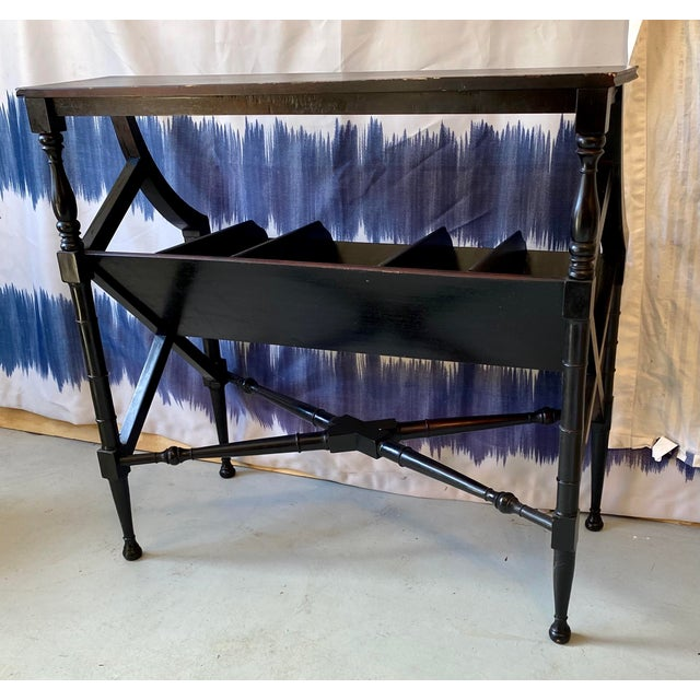 Unusual vintage handcrafted wooden console table with crosshatch side details. Message us direct for most economical...