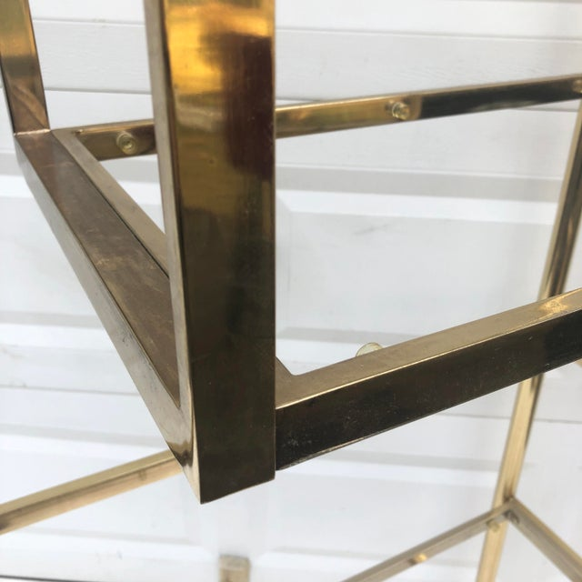 Gold Vintage Brass & Glass Bookcase Etagere For Sale - Image 8 of 11