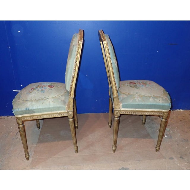 Mid 19th Century Louis XVI Petit Point Embroidered Chairs- A Pair For Sale - Image 4 of 11