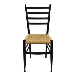 Mid-Century Italian Modern Woven Rope Black Gio Ponti Style Side Chair For Sale