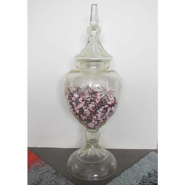 """Pair 30"""" Tall Cut Crystal Glass Lidded Apothecary Jars For Sale - Image 4 of 11"""