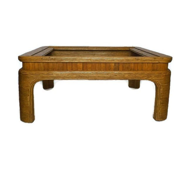 Vintage Split Reed Bamboo Coffee Table - Image 3 of 8
