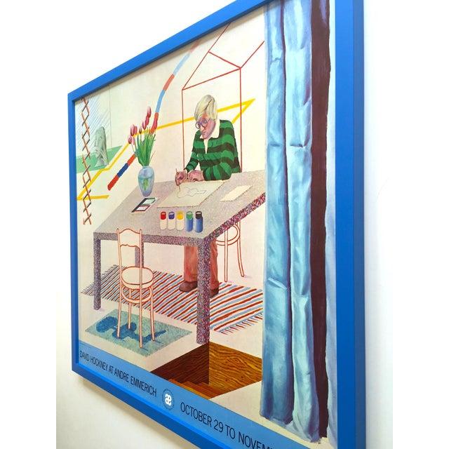 "David Hockney Vintage 1977 Lithograph Print Framed Pop Art Exhibition Poster "" Self Portrait With Blue Guitar "" For Sale - Image 10 of 13"