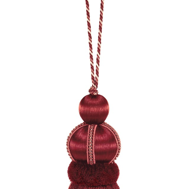 """Art Deco Ruby Red Key Tassel With Cut Ruche - Tassel Height 5.75"""" For Sale - Image 3 of 4"""
