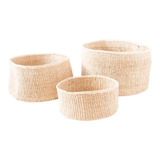 Banana Leaf Floor Baskets - Set of 3 For Sale