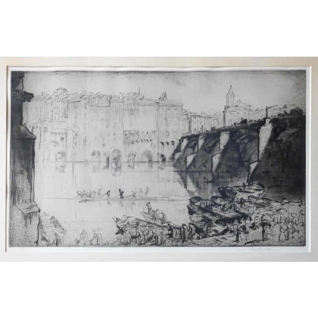Etching on paper by Sir Frank Brangwyn (1867- 1956) Britain of Tarn river at Albi, France 1926. Signed in pencil lower...