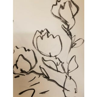 Jose Trujillo Original Flowers Modernism Charcoal Paper Sketch Drawing For Sale