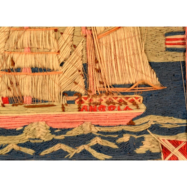 British Sailor's Woolwork (woolie) Picture of the Ship The Angola, Circa 1875-85. (Ref: NY9222/Lrr) The colorful sailor's...