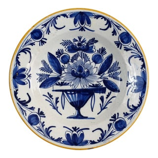 Antique 18th-Century Chinoiserie Dutch Delft Plate Blue & White For Sale
