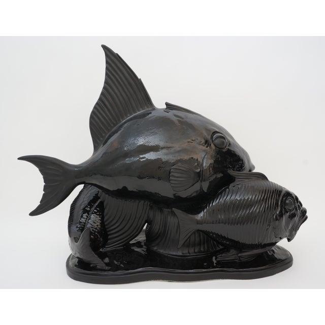 1970s Art Deco 1930s Lejan Style Sculpture School of Fish in Black Ceramic For Sale - Image 5 of 12