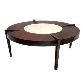 Brazilian Jacaranda and Marble Coffee Table For Sale