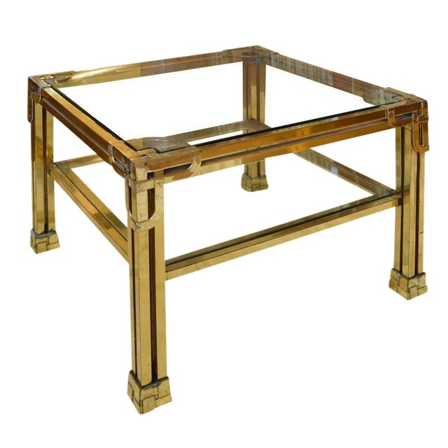 French Brass and Glass Cocktail Table - Image 1 of 5