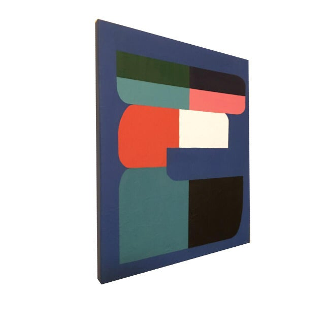 I used professional acrylic paints on two 16x20 high profile canvases to create an abstract geometric work that blends...