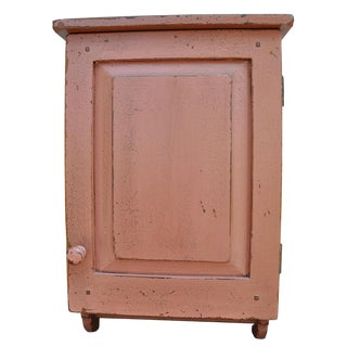 Primitive Red Hanging Wall Cabinet For Sale