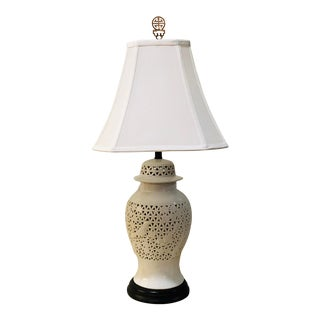 1960s Chinoiserie Blanc De Chin Porcelain Table Lamp With Shade and Brass Finial For Sale