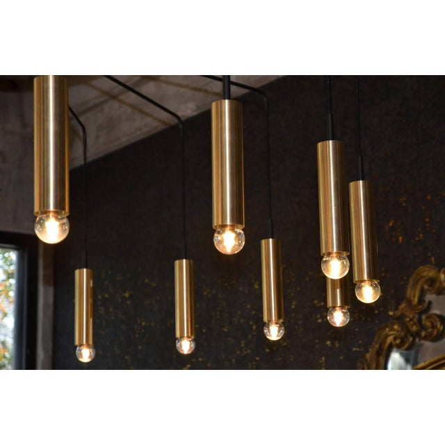Brass and Steel Modern Spider Chandelier For Sale In Austin - Image 6 of 11