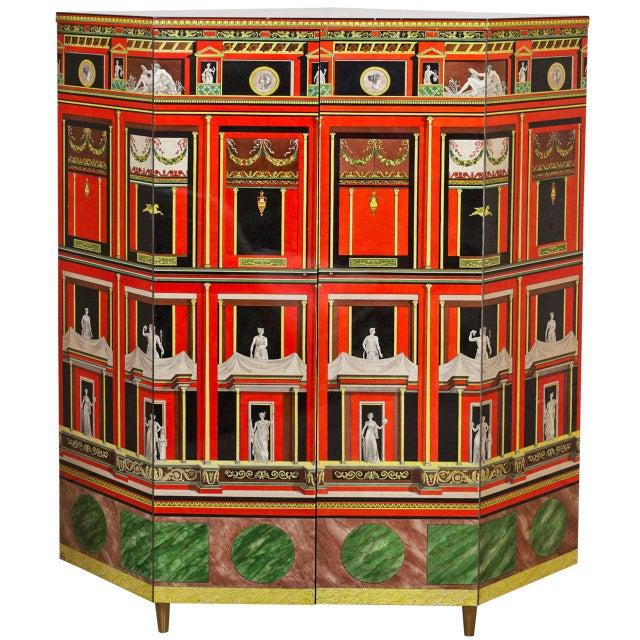 Gold Piero Fornasetti Exceptional Lacquered Encoignure/Corner Cabinet For Sale - Image 8 of 8