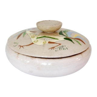 1950s Shabby Chic Creek Turn Pottery Covered Decorative Bowl For Sale