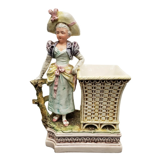 Late 19th Century French Majolica Porcelain Victorian Woman Matchstick Holder For Sale