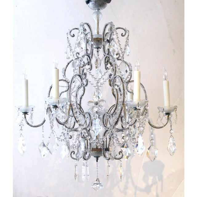 Rococo A lustrous and graceful Italian rococo style cage-form beaded 6-light chandelier with crystal pendants, flowers and swags For Sale - Image 3 of 6