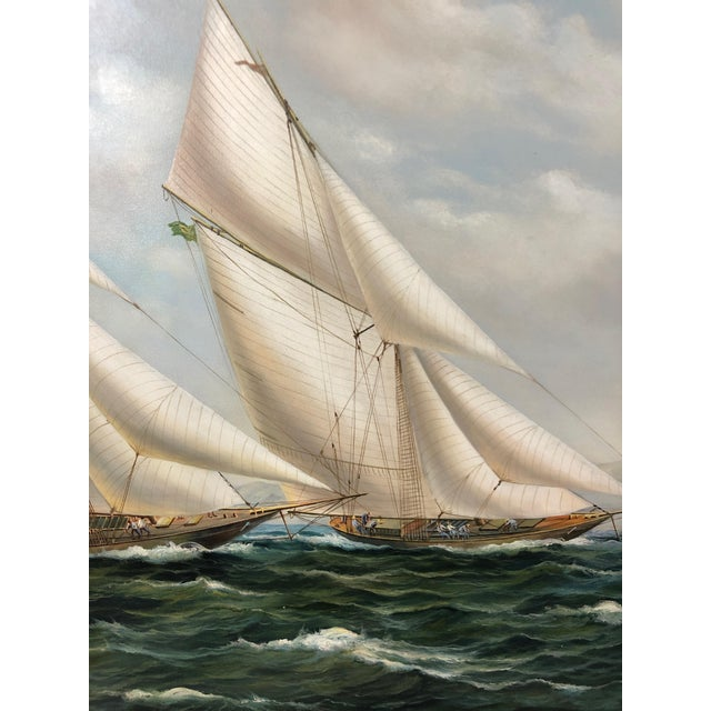 Realism Realist Painting of Sailing Vessels by Cooper For Sale - Image 3 of 13