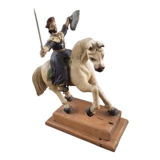 Early 20th Century Mexican Santiago Matamoros on Horse Polychrome Wooden Santo (Saint James) For Sale