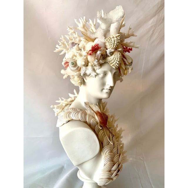 Contemporary Classical Shell-Encrusted Marble Diana For Sale - Image 3 of 9