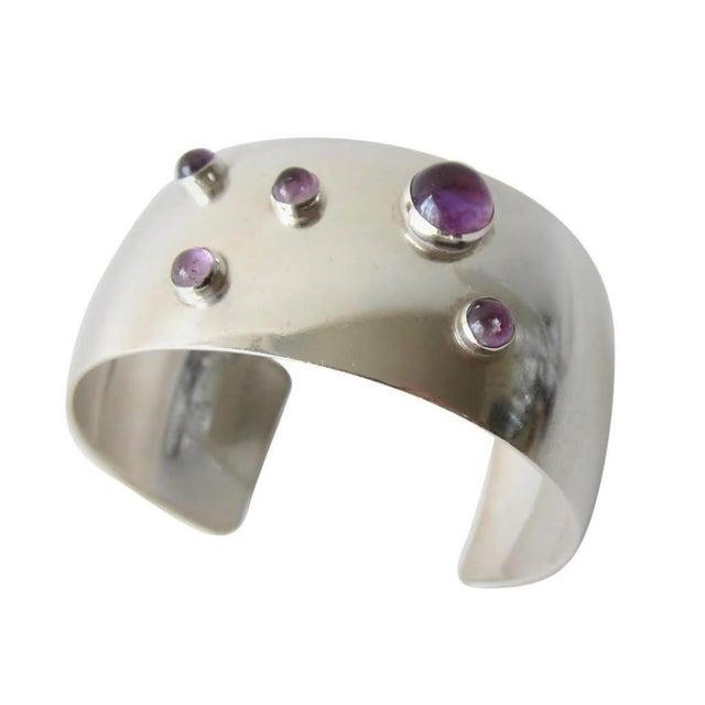 Niels Erik From Amethyst Sterling Silver Danish Modernist Cuff Bracelet For Sale - Image 4 of 4