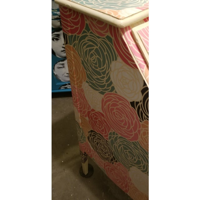 Lacquer Peony Clad Drop Leaf Desk For Sale - Image 7 of 8