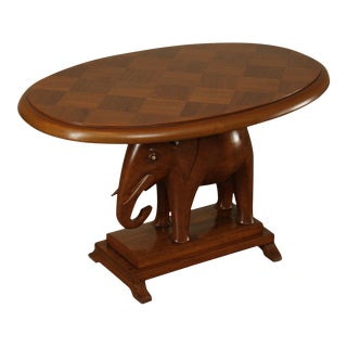 African Mahogany Vintage Oval Top Elephant Base Side Table For Sale