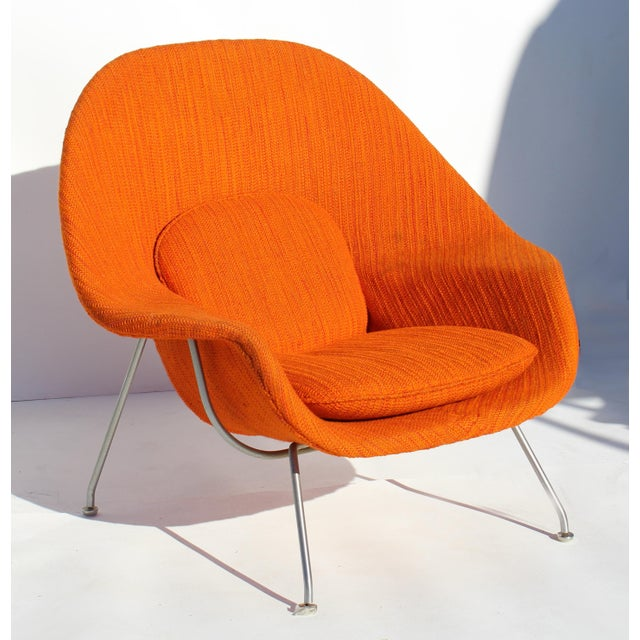"""Eero Saarinen Womb Chair with Original Upholstery and Steel Frame Offered for sale is an early example of the """"Womb"""" chair..."""